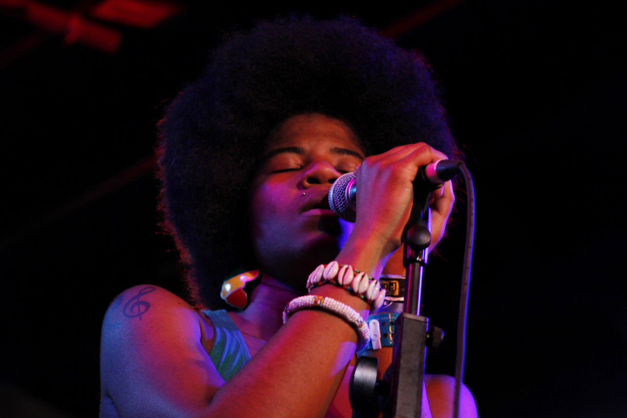 THEESatisfaction performs at the Sub Pop showcast at Red 7 during South By Southwest in Austin, Texas on March 16, 2012.