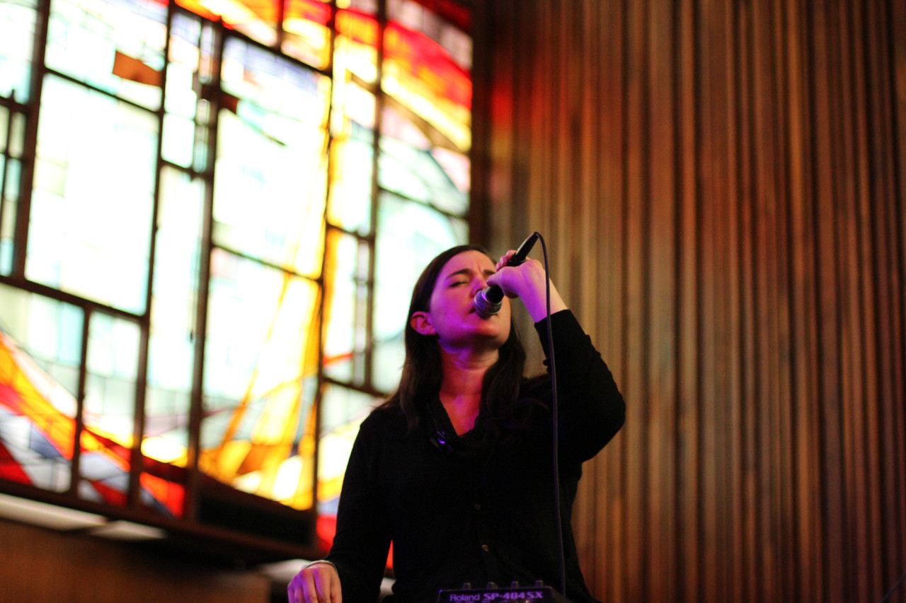 Julianna Barwick performs at the Pitchfork showcase at the Central Presbyterian Church during South By Southwest in Austin, Texas on March 17, 2011.