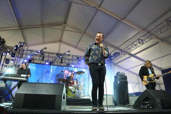Future Islands performs in the Gotham tent at Governors Ball on Randall's Island, New York, on June 6, 2015. (© Michael Katzif – Do not use or republish without prior consent.)