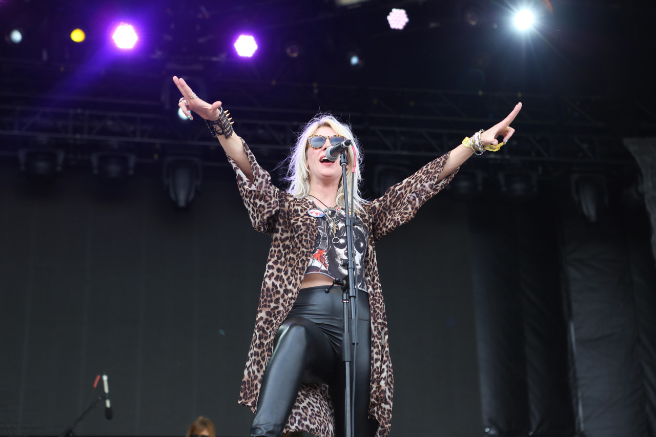White Lung's Mish Way performs on the Honda Stage at Governors Ball on Randall's Island, New York on June 6, 2015.  (© Michael Katzif – Do not use or republish without prior consent.)